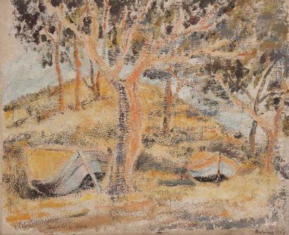 Sabine HETTNER (1906-1986) Barques au bois,...