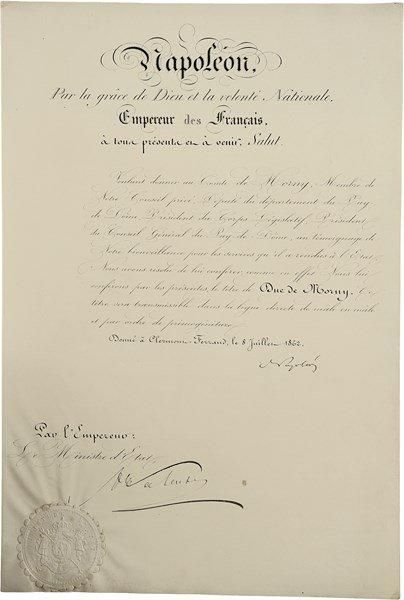NAPOLÉON III (1808-1873). P.S., Clermont-Ferrand 8 juillet 1862; contresignée par...