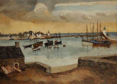 Edmond CERIA (1884-1955) Port de pêche en Bretagne Huile sur toile. Signée en bas...