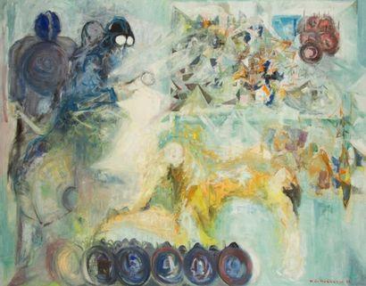 Helene DE BEAUVOIR (1910-2001) La Nuit était verte, 1968 Huile sur toile. Signée...