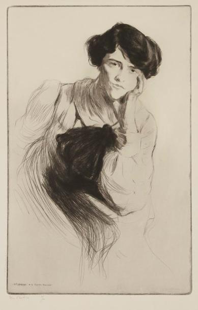 Edgar CHAHINE (1874-1947) Mademoiselle Delvair de la Comédie Française. 1901. Pointe...