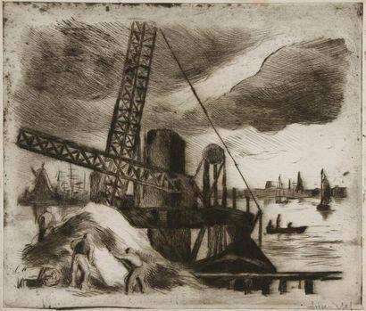Maximilien Luce (1858-1941) Rotterdam. Vers 1895. Pointe sèche. 370 x 320. Superbe...