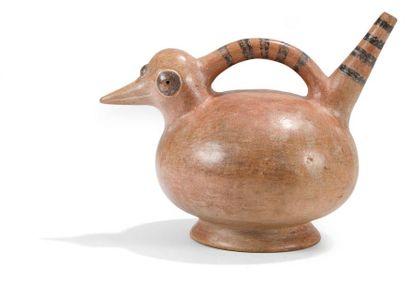 Vase zoomorphe représentant un oiseau. Terre...