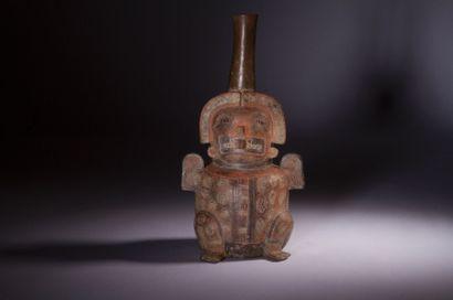Rare bouteille anthropo-zoomorphe représentant...