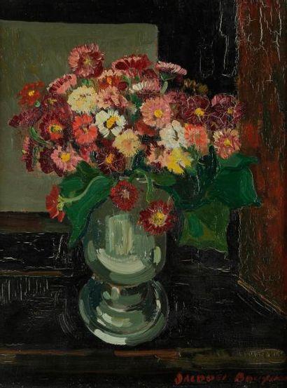 Jacques BOUYSSOU (1926 -1997) Bouquet de fleurs, 1963 Huile sur toile. Signée en...
