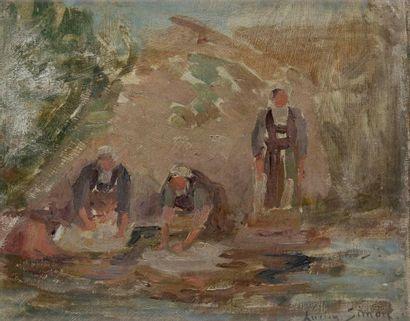 Lucien SIMON (1861-1945) Les Lavandières Huile sur carton. Signée en bas à droite....