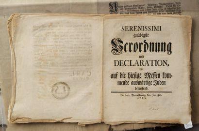 [ALLEMAGNE] - Serenissimi gnädigste Verordnung...