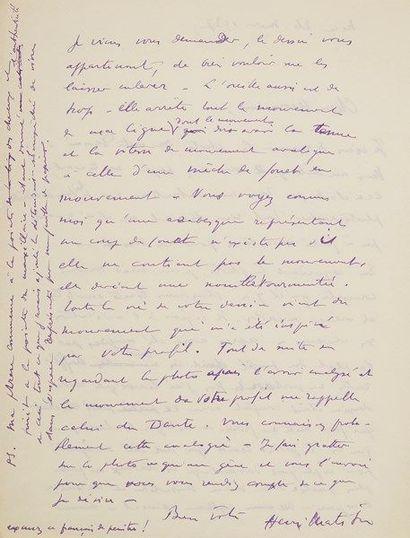 Henri MATISSE (1869-1954). L.A.S., Nice 26...