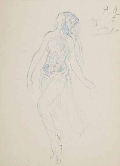 DANSE. Valentine HUGO. 5 dessins au crayon bleu, dont 2 avec notes autographes;...