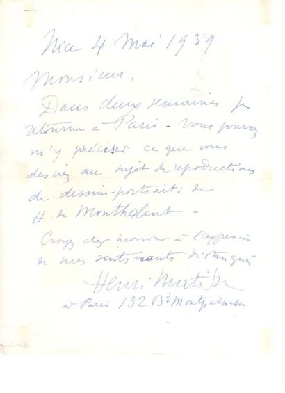 Henri MATISSE. L.A.S., Nice 4 mai 1939; 1...