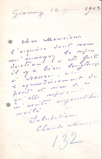 Claude MONET. L.A.S., Giverny 12 juin 1903,...