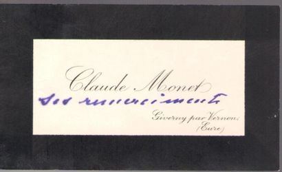 Claude MONET. Carte de visite avec 2 mots...