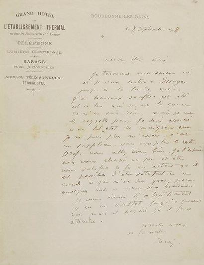 Auguste RENOIR (1841-1919). L.A.S., Bourbonne-les-Bains...