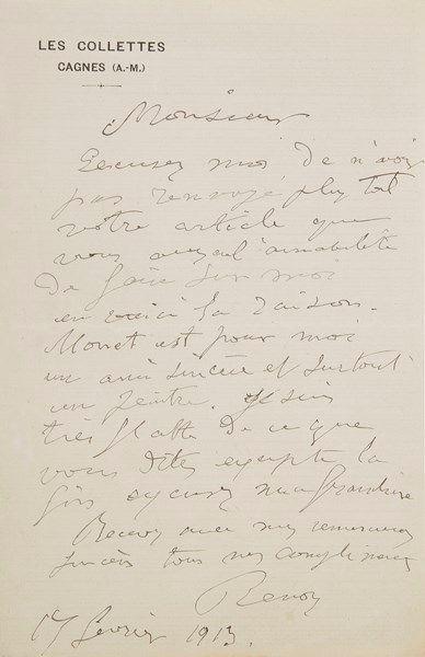 Auguste RENOIR. L.A.S., Les Collettes, Cagnes...