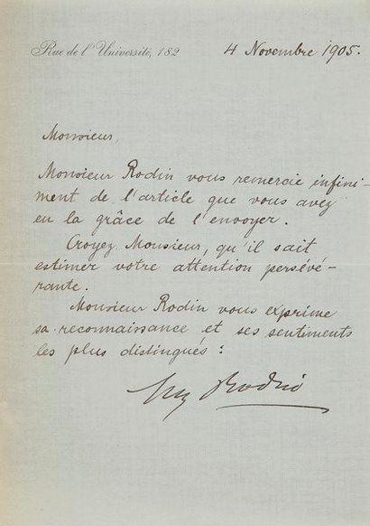 Auguste RODIN. L.S., Rue de l'Université,...