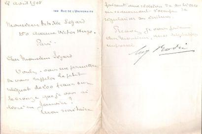 Auguste RODIN. Carte de visite a.s. et 3...