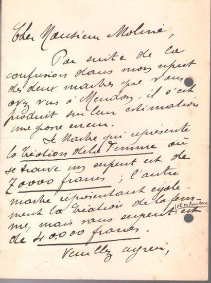 Auguste RODIN. L.A.S. et 2 cartes de visite...