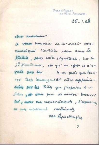 Théo van rysselberghe (1862-1926). 2 L.A.S.,...