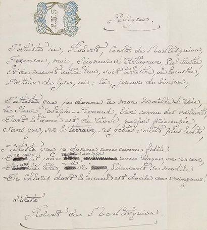 Robert de montesquiou. Poème autographe signé,...