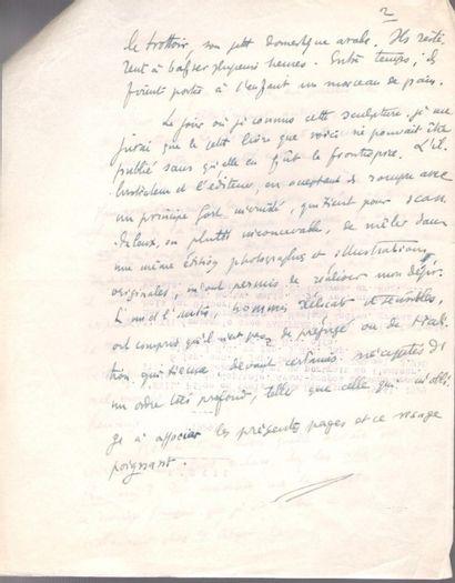 Henry de MONTHERLANT (1896-1972). 2 manuscrits autographes; 3 et 2 pages in-4, et...