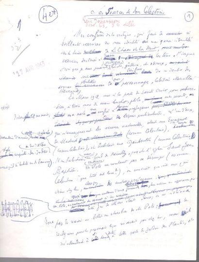 Henry de MONTHERLANT. Manuscrit autographe,...