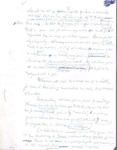 """Henry de MONTHERLANT. Manuscrit autographe, Pour la fin des """"personnages de fiction"""",..."""