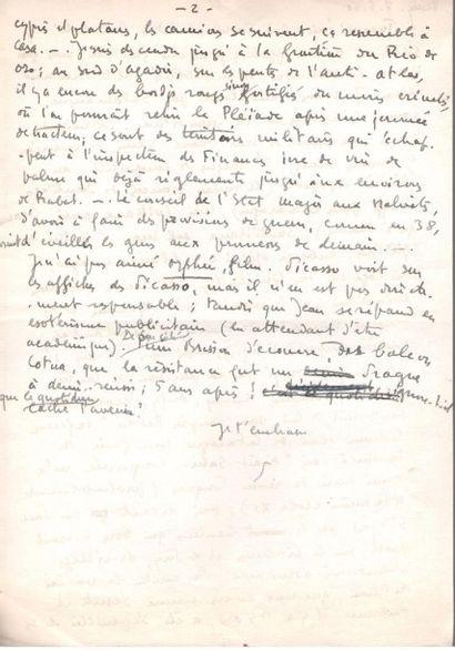 Paul morand. L.A.S. «P.», Vevey 7 mai 1950, [à Emmanuel Berl]; 1 page ¾ in-4. {CR}Il...