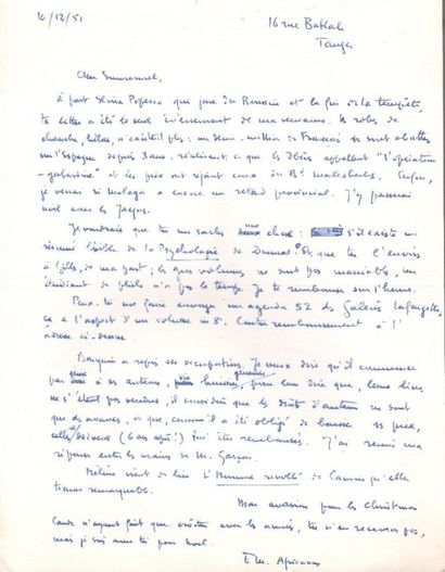 Paul morand. 2 L.A.S. «PM», Tanger 1951-1955,...