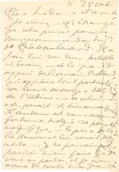 Anna de NOAILLES (1876-1933). L.A.S., 25...
