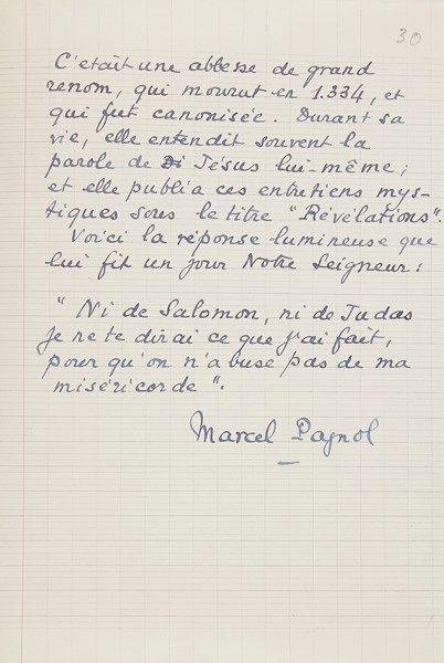 Marcel PAGNOL (1895-1974). Manuscrit autographe signé, [Préface pour] Judas, [1955];...
