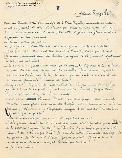 Jean PELLERIN. Manuscrit autographe signé,...