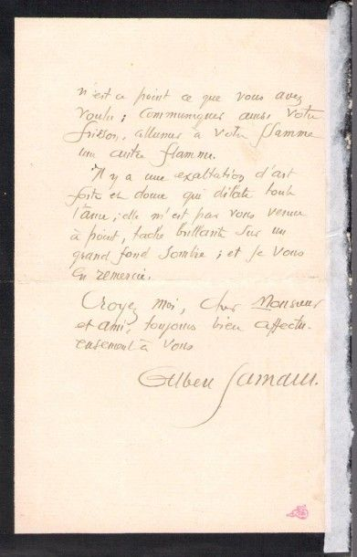 Albert SAMAIN (1858-1900) poète. L.A.S., Vence 21 mars 1899, [à Robert de Montesquiou];...