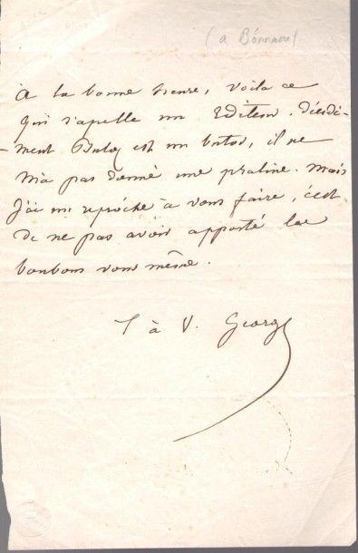 George SAND. L.A.S. «George», [Paris début janvier 1835, à l'éditeur Félix Bonnaire];...