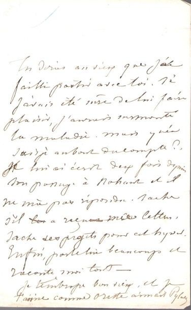 George SAND. L.A.S. «Pylade», [Nohant fin novembre 1837], à son ami Alexis Duteil...