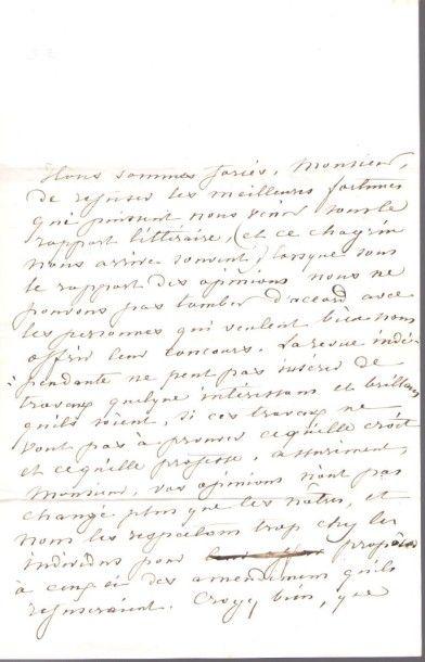George SAND. L.A.S. «George Sand», Jeudi [fin 1841 ou début 1842, au comte Louis...