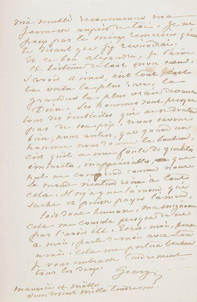 George SAND. L.A.S. «George», [Nohant] Lundi soir [31 décembre 1849], à son amie...