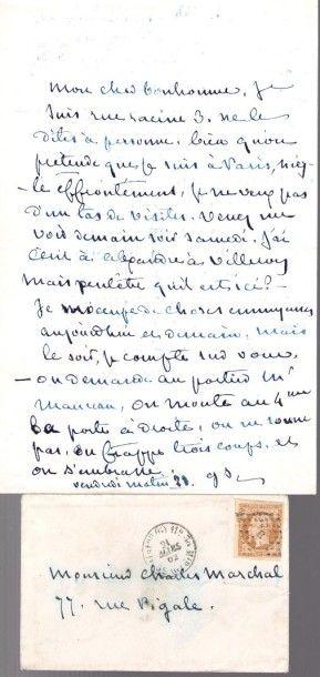 George SAND. L.A.S. «GS», [Paris] vendredi matin 21 [mars 1862], à son ami le peintre...