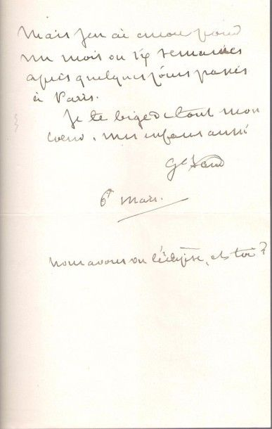 George SAND. L.A.S. «G. Sand», [Nohant] 6 mars [1867], à son ami le peintre Charles...
