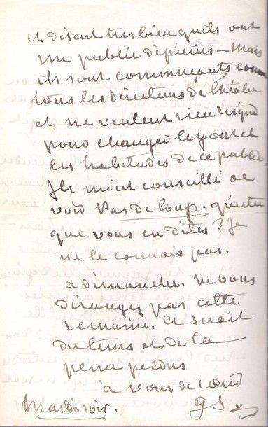 George SAND. L.A.S. «GS», [Paris] Mardi soir [18 mai 1869, au compositeur Alexandre...