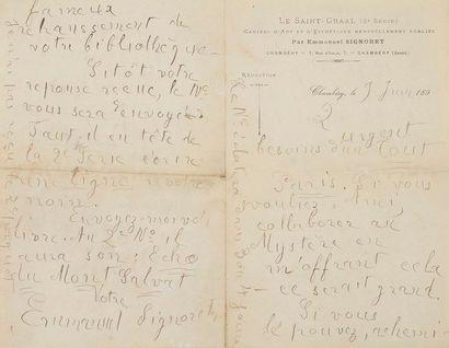 Emmanuel SIGNORET (1872-1900) poète. 20 L.A.S., 1895-1899 au poète et critique d'art...