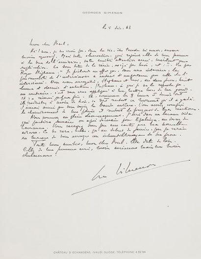 Georges SIMENON (1903-1989). 2 L.A.S., Château d'Échandens, près Lausanne 1963,...