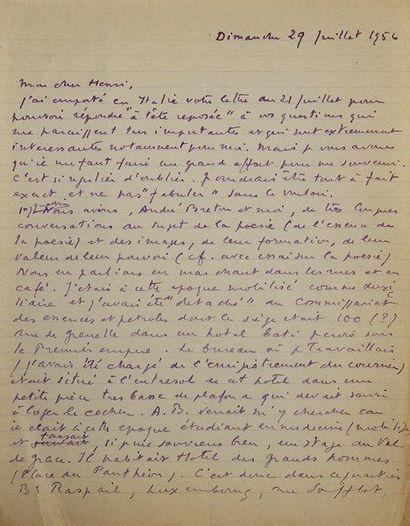 Philippe SOUPAULT (1897-1990). 60 L.A.S. (une de sa femme Ré), 1943-1970, à Henry-Jacques...