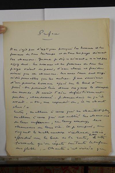 Philippe SOUPAULT. Manuscrit autographe, Préface; 4 pages in-4 (tapuscrit joint)....