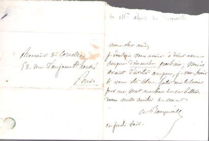 Alexis de TOCQUEVILLE (1805-1859). L.A.S., jeudi soir, à M. de Corcelles; 1 page...