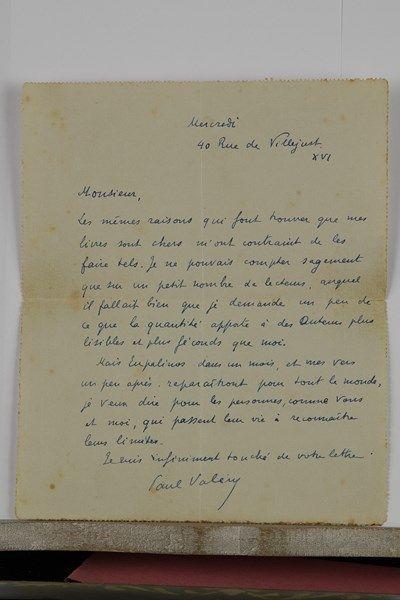 Paul VALÉRY (1871-1945). L.A.S., Mercredi [16 octobre 1924], à H.R. Joute, maître...