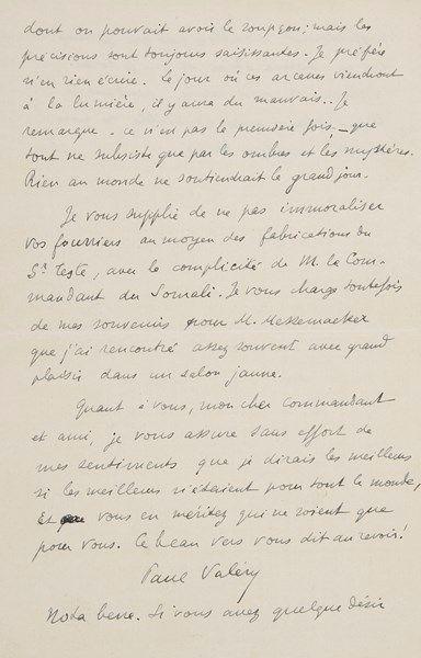 Paul VALÉRY. L.A.S., Paris 3 octobre 1925,...