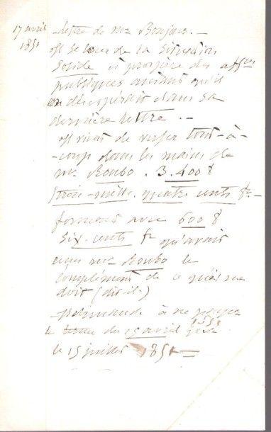 Alfred de VIGNY (1797-1863). Manuscrit autographe,...