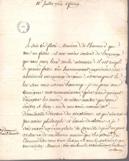 VOLTAIRE (1694-1778). L.S. «Voltaire», Ferney...