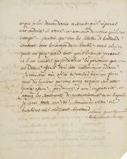 VOLTAIRE. L.S. «Voltaire gentilhomme de la chambre du Roy», château de Ferney par...