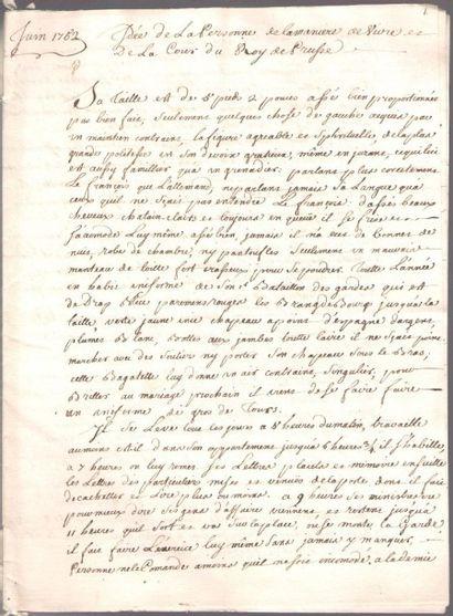 [VOLTAIRE]. Manuscrit, Idée de la personne, de la maniere de vivre et de la Cour...